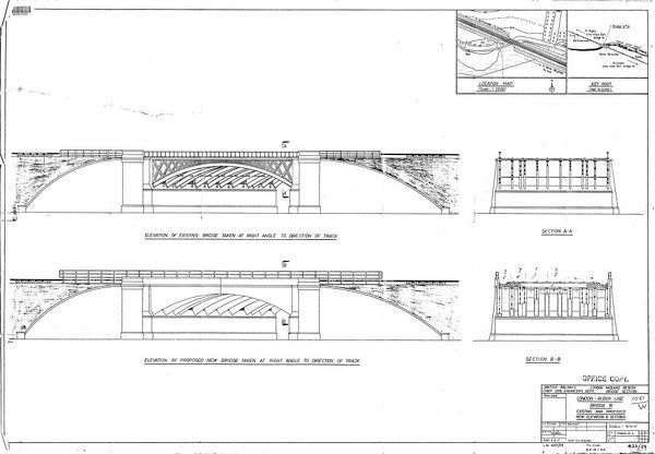 British Railways London - Rugby Line Bridge 91 Elevations and Sections [c1959]