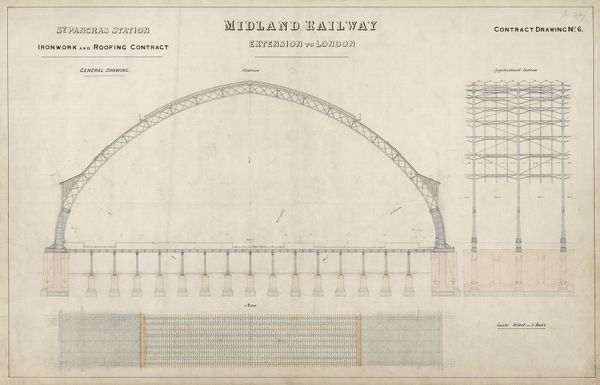 St Pancras Station. Midland Railway. Ironwork and Roofing Contract - General Drawing