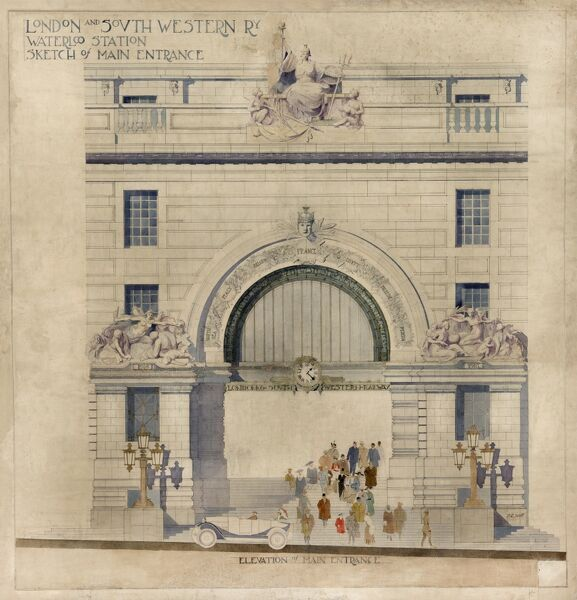 Waterloo. London & South Western Railway. Victory Arch 'Elevation of Main Entrance&#39