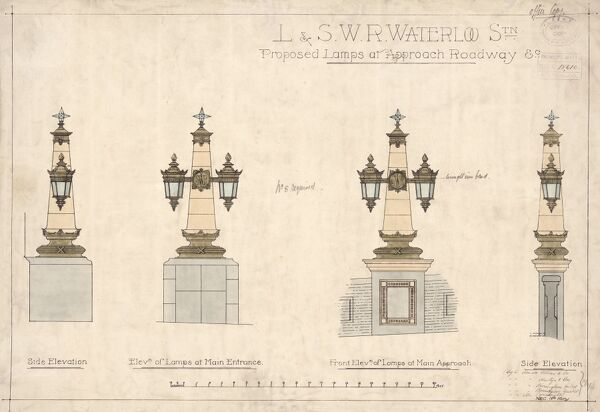 Waterloo. London & South Western Railway. 'Proposed lamps at approach railway' (c. 1921)