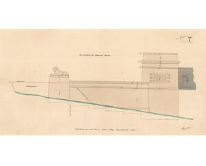 Britannia Bridge - Drawing No. 7 - Elevation of End Tower and Wing on Caernarvon Side [1846]