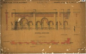 LB&SCR London Bridge Station - Enlarged Elevation of Part of SW Wall External Elevations (21/12/1864)