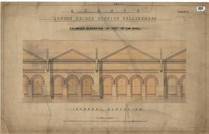 LB&SCR London Bridge Station Enlargement - Enlarged Elevations of Part of Wall, External Elevation (01/1865)