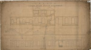 LB&SCR London Bridge Station Enlargement - Longitudinal Section on Line E E, Longitudinal Elevation (21/12/1864)