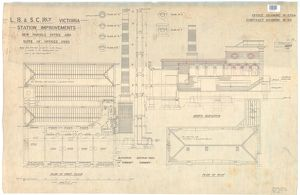 LB&SCR Victoria Station Improvements - New Parcels Office and Suite of Offices over - North Elevation and plans. Office drawing 6784, Contract drawing 49 [1903]