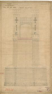 L&NWR Runcorn Branch - Bridge over River Mersey - Elevation of Abutment [1864]