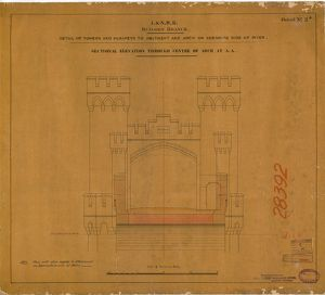 L&NWR Runcorn Bridge - Cheshire Abutment - Sectional Elevation [1867]