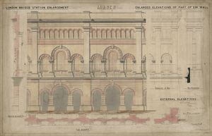 London Bridge Station. London Brighton and South Coast Railway. London Bridge Station Enlargement - enlaged elevations of part of SW wall - external elevations. 1862.