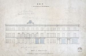 London Bridge Station. South Eastern Railway. London Terminus - West Elevation [registered in] 01/1853