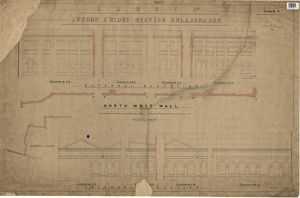 LS&SCR London Bridge Station - North West Wall, Internal Elevation (21/12/1864)