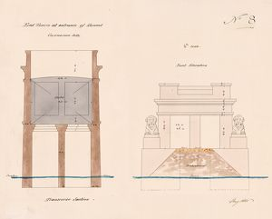 Britannia Bridge - Drawing No. 8 - End Towers at Entrance of Tunnel on Caernarvon Side [1846]