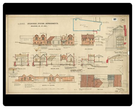 Full Title: London and South Western Railway. Brookwood Station Improvements. Elevations, Section and Roof Plan of buildings on Up Side [1903]