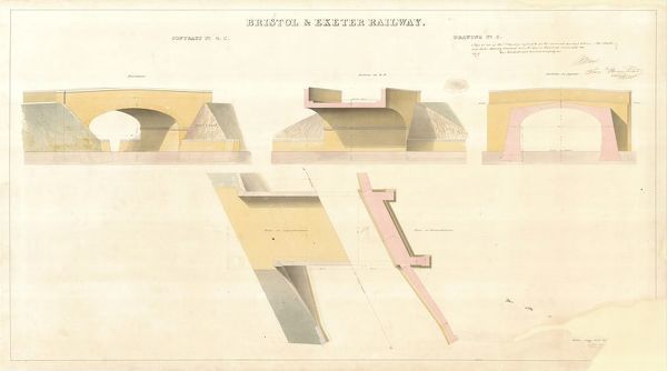 Contract no. 4C Drawing no.5 showing Elevations, Plan and Sections of Bridge. Signed by I.K.Brunel and Samuel Bromhead