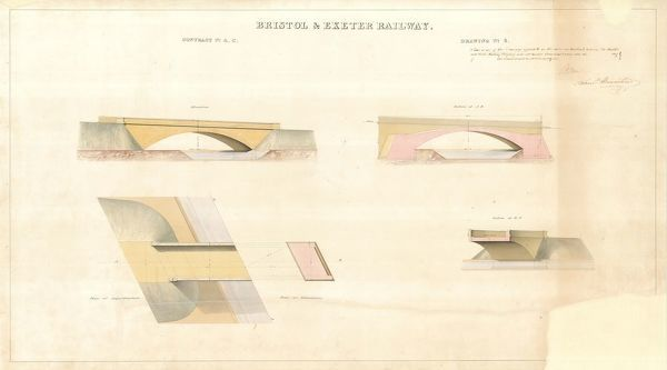 Contract no. 4C Drawing no.6 showing Elevation, Sections and Plan of Bridge.  Signed by I.K. Brunel and Samuel Bromhead