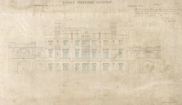 Archive/Image Reference - NRCA110061 Title of Original Drawing - Bristol Temple Meads Author - Great Western Railway Description of Drawing - Bristol Station Elevation Number 6 1840 Date of Creation - 21/01/1840 Scale of Original Drawing - 5