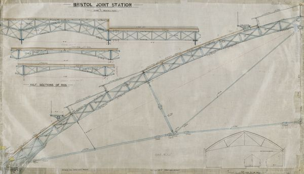 Archive/Image Reference - NRCA110062 Title of Original Drawing - Bristol Temple Meads Author - Great Western Railway Description of Drawing - Sections of Roof Purlins and Ribs (Wax linen) Date of Creation - Not dated Scale of Original Drawing