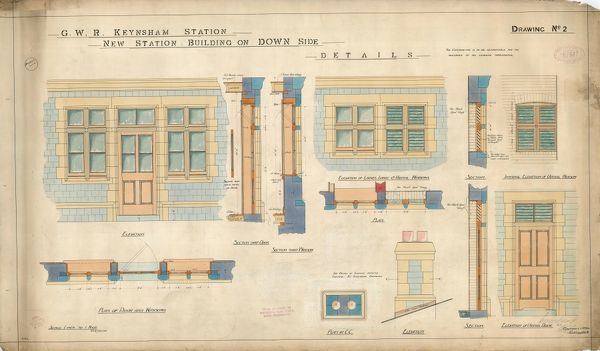 G.W.R Keynsham Station Drawing no. 2 - Details of New Station Building on Down Side - plans, elevations and sections [1908]
