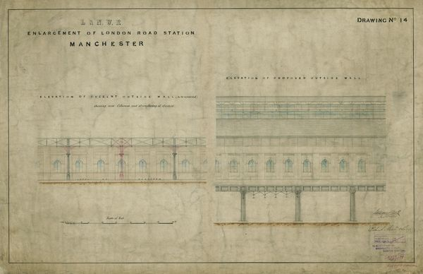 Enlargement of London Road Station Manchester. London & North Western Railway. Elevations of Outside Walls. 11 January 1878