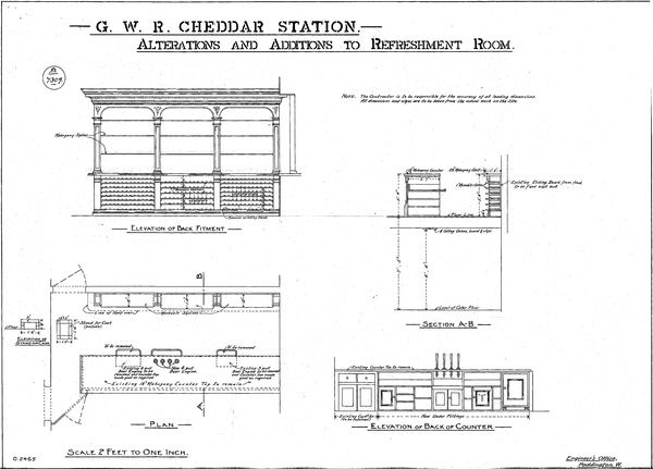 Elevations, Plan and Section of Refreshment Room