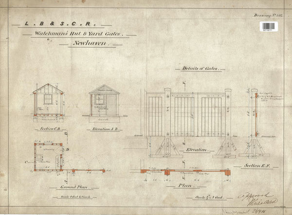 LB&SCR Watchmens Hut and Yard Gates Elevation Section and Plan [1896]