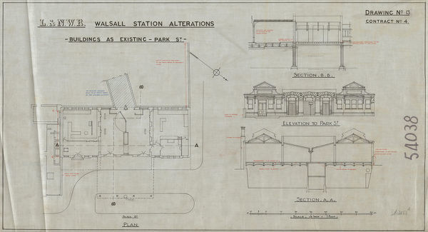 Contract No 4 Drawing no. 13 Elevation to Park Street, Sections B.B. and A.A, and Plan