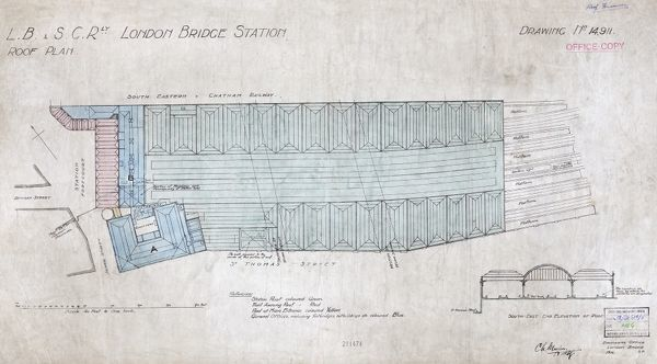 London Bridge Station. London Brighton and South Coast Railway. Roof Plan. 1916