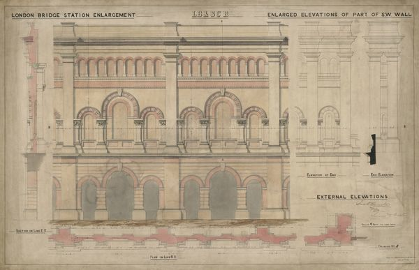 London Bridge Station. London Brighton and South Coast Railway. London Bridge Station Enlargement - enlaged elevations of part of SW wall - external elevations. 1862