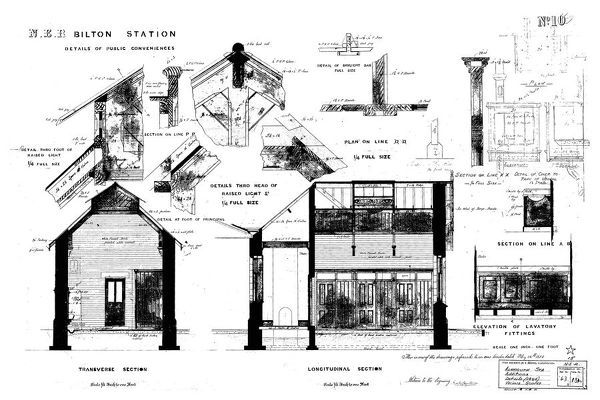 Drawing no.10 Details, Sections and Elevation. Please note this is a microfilm copy and not the original