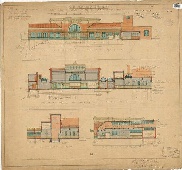 S.R. Hastings Station - Eighth scale Elevations and Sections of New Station Buildings [1930]
