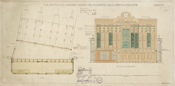 Waterloo Station. Southern Railway. Design for Mechanical Train Arival Indicator. c1938