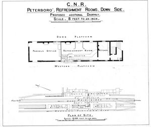 GNR Peterborough Station Refreshment Room Down Side Proposed Additional Doorway [1922]