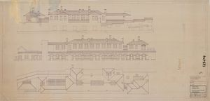 Crewe Station Platforms 5 & 6 - Elevations and Plan of Existing Station Buildings [1979]