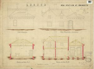 LB & SCR New Station at Emsworth - Elevations and Sections [1872]
