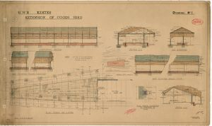 G.W.R. Exeter - Extension of Goods Shed, Drawing No. 1 - Elevations, Sections