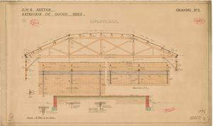 G.W.R. Exeter - Extension of Goods Shed, Drawing No. 2 - Section at BB [1914]