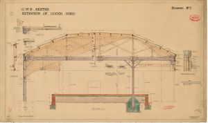 G.W.R. Exeter - Extension of Goods Shed, Drawing No. 3 - Section at CC [1914]