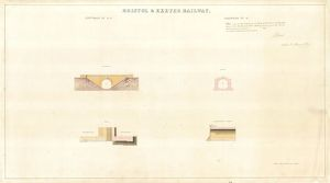 Bristol and Exeter Railway - River Tone Bridge Elevations, Plan and Sections [c1841]