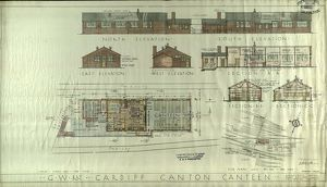 G.W.R Cardiff Canton Canteen Elevations, Sections and Plans [1942]