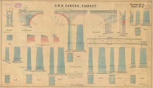 G.W.R Carnon Viaduct Drawing no. 4 - Elevations, Section of Piers and Abutments [1931]