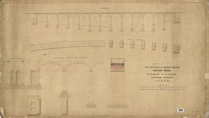 York, Newcastle And Berwick Railway - Auckland Branch - Durham Viaduct - General Elevation