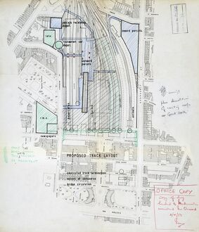 Euston Station. British Railways. Plan of Old Euston sent to Modernisation Officer. 1959
