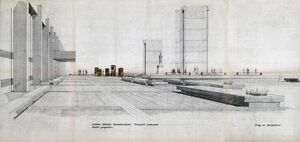 Euston Station. British Railways. Euston Station Reconstruction forecourt treatment sketch perspective (showing Stephenson Statue)