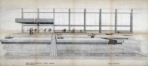 Euston Station. British Railways. Euston Station Reconstruction forecourt treatment sketch perspective