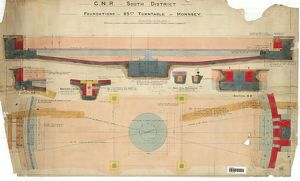 GNR South District Foundations For 65Ft Turntable at Hornsey - Sections [1913]