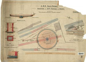 GNR South District Foundations For 65Ft Turntable at Hornsey - General Plan [1929]