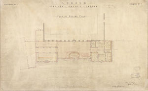 LB & SCR Crystal Palace Station Plan of Ground Floor [1875]