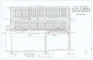 stations/leicester station/lms leicester parcels office elevation section