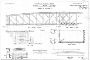 Lochearnhead and Comrie Railway - Drawing 11 - Bridge over River Lednock - Details