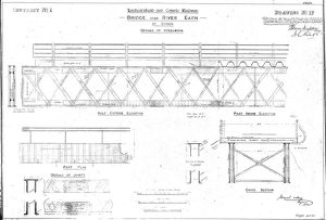 Lochearnhead and Comrie Railway - Drawing 17 - Details of bridge over River Earn at Comrie