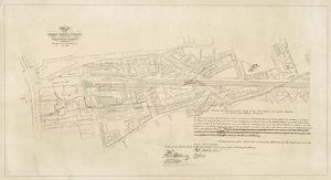 London Bridge Station. Plan of the London Bridge Station and part of the Greenwich viaduct together with adjoining properties (signed by Robert Stephenson) 11/1846